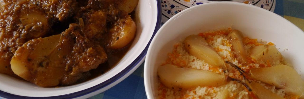 Tajine de poulet aux poires et aux épices