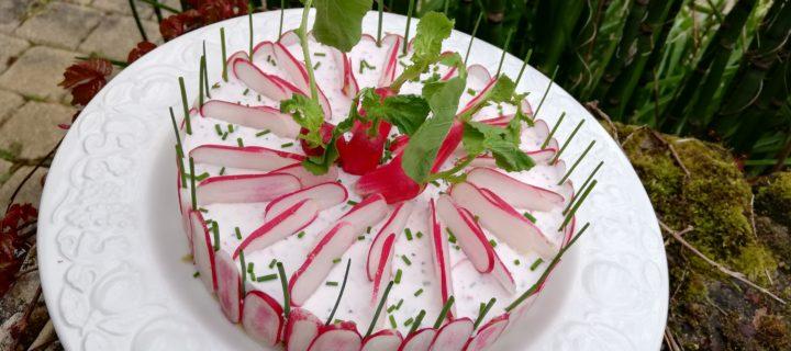 Cheesecake au chèvre frais et radis